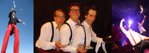 Komische Kellner, Stelzenläufer und Show